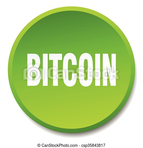 bitcoin green round flat isolated push button - csp35843817