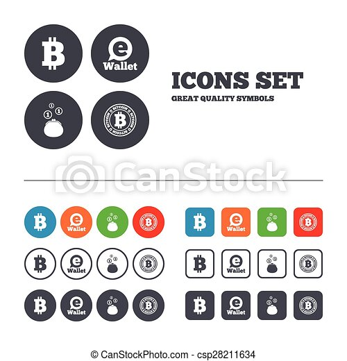 Bitcoin icons. electronic wallet symbol. Bitcoin icons. electronic ...