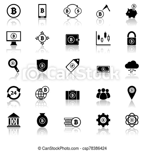 Bitcoin icons with reflect on white background - csp78386424