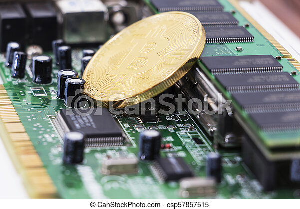 Bitcoin mining process - gold coin on computer circuit board with bitcoin processor and microchips. Electronic currency, internet finance rypto currency concept. - csp57857515