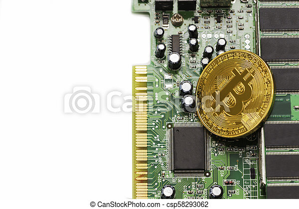 Bitcoin mining process - gold coin on computer circuit board with bitcoin processor and microchips. Electronic currency, internet finance rypto currency concept. - csp58293062