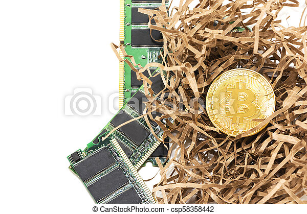 Bitcoin mining process - gold coin on computer circuit board with bitcoin processor and microchips. Electronic currency, internet finance rypto currency concept. - csp58358442