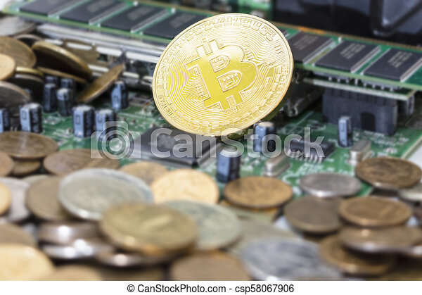 Bitcoin mining process - gold coin on computer circuit board with bitcoin processor and microchips. Electronic currency, internet finance rypto currency concept. - csp58067906