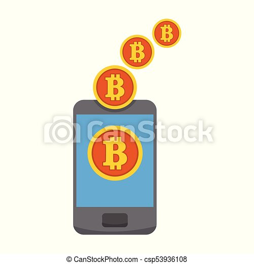 Bitcoin Mobile Mining Transfer Vector Illustration Graphic - csp53936108