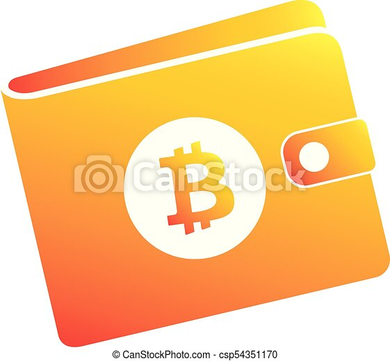 Bitcoin Orange Wallet With Crypto Currency Logo Flat Blockchain Icon For Web And Print