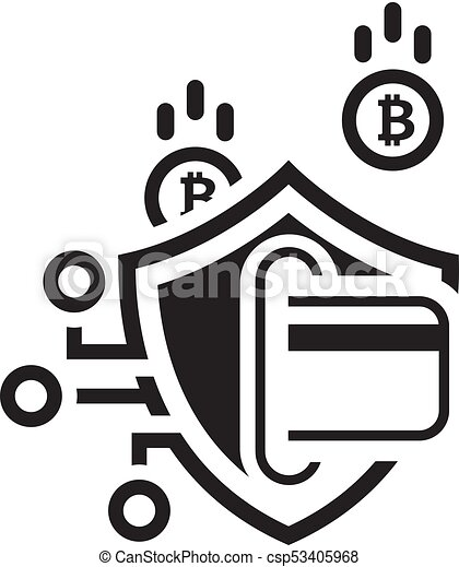 Bitcoin Open Source P2p >> Bitcoin secure transaction icon. modern computer network technology sign. digital graphic symbol ...
