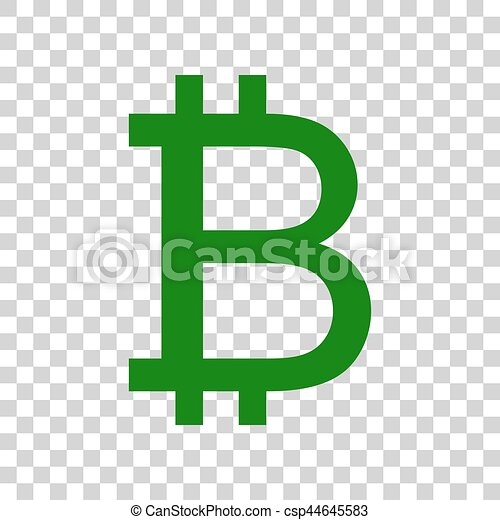 Bitcoin Sign Dark Green Icon On Transparent Background Vector