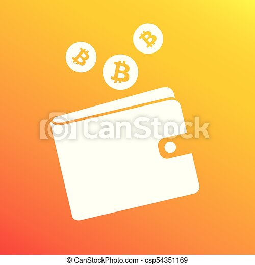 Bitcoin White Wallet With Logo And Falling Coins Sign
