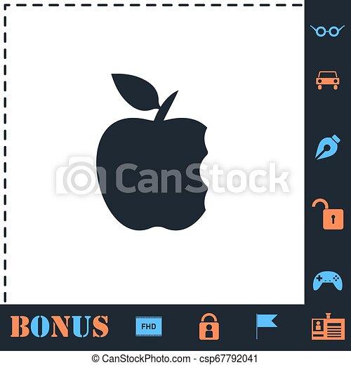 Bite apple icon flat - csp67792041