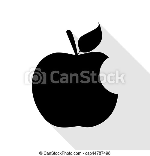 Bite apple sign. Black icon with flat style shadow path. - csp44787498