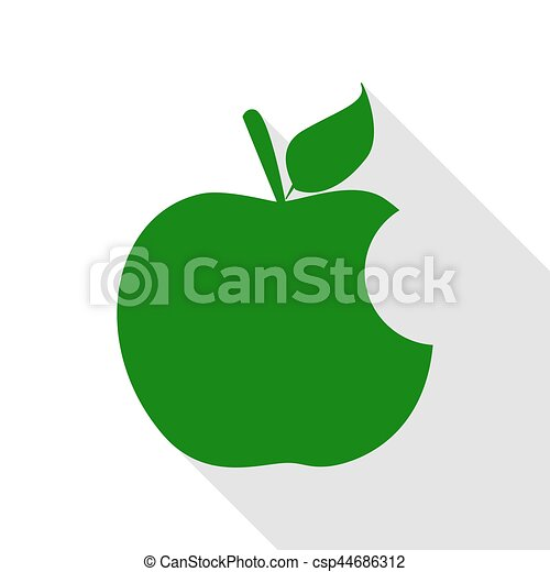 Bite apple sign. Green icon with flat style shadow path. - csp44686312