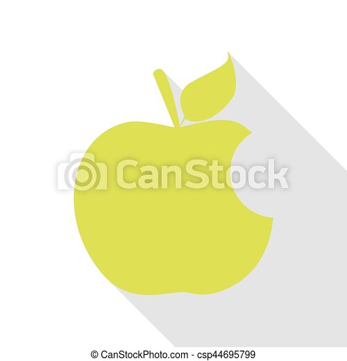 Bite apple sign. Pear icon with flat style shadow path. - csp44695799