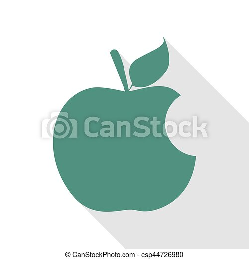 Bite apple sign. Veridian icon with flat style shadow path. - csp44726980