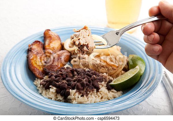 Bite of Cuban Roast Pork - csp6594473