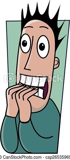 Biting Fingernails A Nervous Cartoon Man Is Biting His Fingernails
