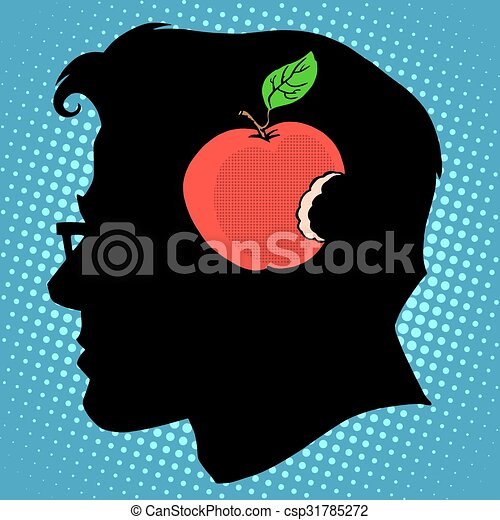 Bitten Apple in mind a business concept knowledge - csp31785272