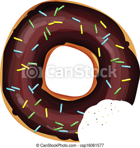 bitten donut with chocolate and rainbow sprinkles - csp16061577