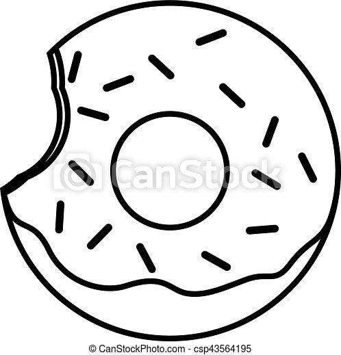 bitten glazed ring donut with sprinkles bitten pink glazed eps rh canstockphoto com donut clipart black and white donut clipart black and white