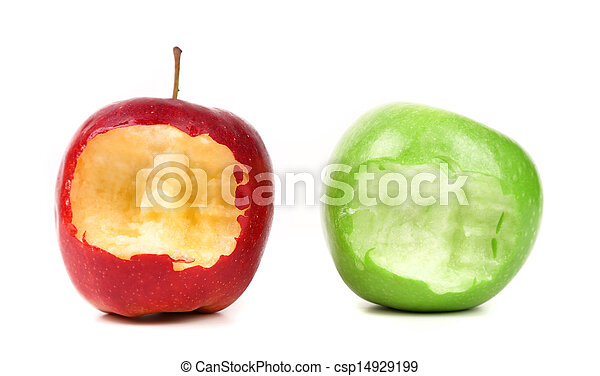 bitten red and green apples on a white background - csp14929199