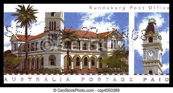 biuro, -, australia, circa, 2008, opisywanie, opłata pocztowa, australijski, bundaberg, tłoczyć, odwołany, :, poczta - csp4050389