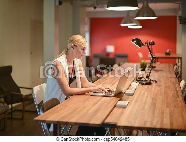 biuro, handlowy, laptop, używając, dziewczyna, blondynka - csp54642485