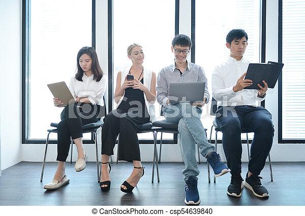 biuro, handlowy zaludniają, wpływy, inny, teamwork, każdy, międzynarodowy - csp54639840