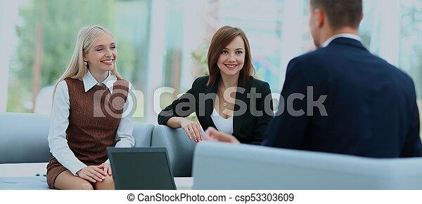 biuro, posiedzenie, pomyślny, trzy, planowanie, businessteam - csp53303609