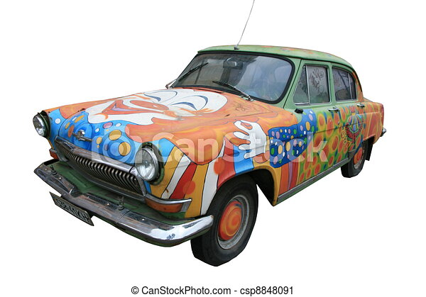 Bizarre isolated tricky colored vintage car - csp8848091