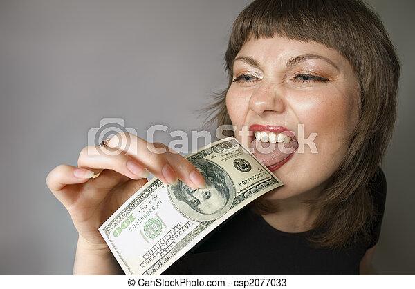 Bizarre woman. Taste of the money. - csp2077033