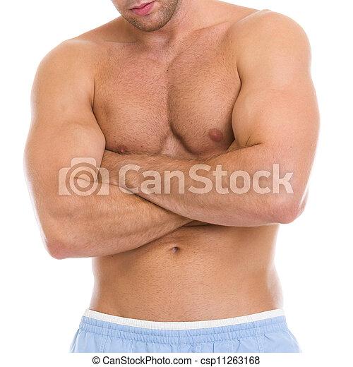 Bizeps, muskeln, athlet, closeup, mann, oberkörper, ausstellung.