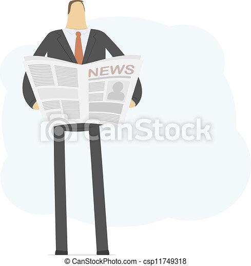 biznesmen, czyta, młody, nowość - csp11749318