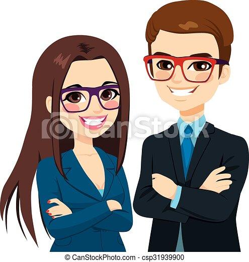 biznesmen, krzyżowany herb, kobieta interesu - csp31939900