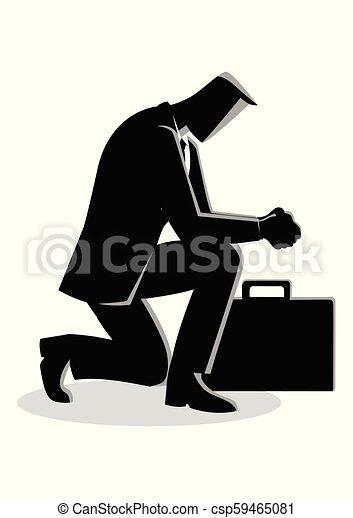 biznesmen, modlący się, ilustracja - csp59465081