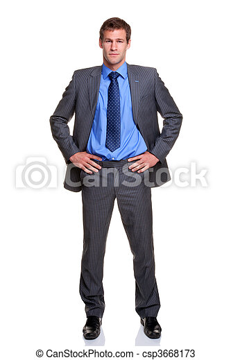 biznesmen, odizolowany, biodra, siła robocza - csp3668173