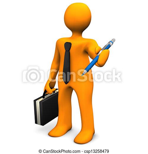biznesmen, pióro - csp13258479