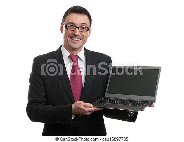 biznesmen, pokaz, laptop, ekran, czysty - csp15897735