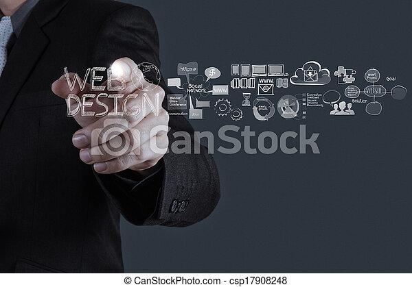 biznesmen, ręka, pracujący, diagram, zamiar sieći, pojęcie - csp17908248