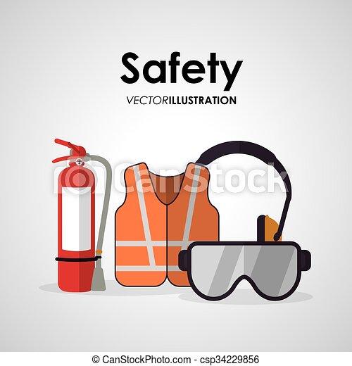 biztonság, munka, tervezés, ikon - csp34229856