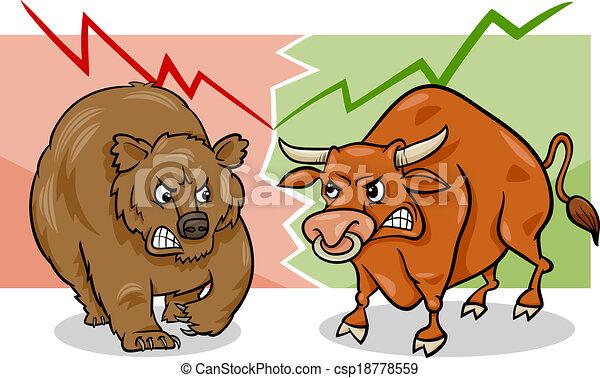 björn, tecknad film, marknaden, tjur - csp18778559