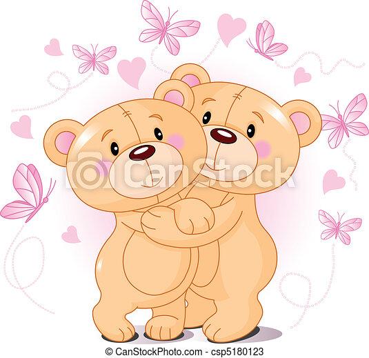 björnar, teddy, kärlek - csp5180123