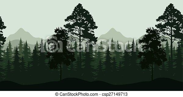 bjerge, landskab, seamless, træer - csp27149713