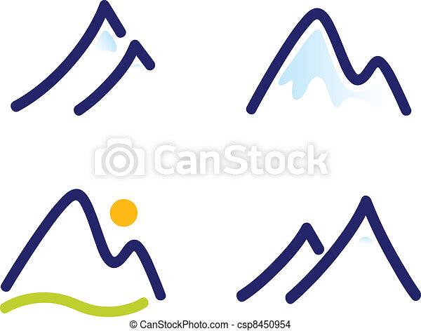 bjerge, sæt, bakkerne, snedækkede, iconerne, isoleret, hvid, eller - csp8450954