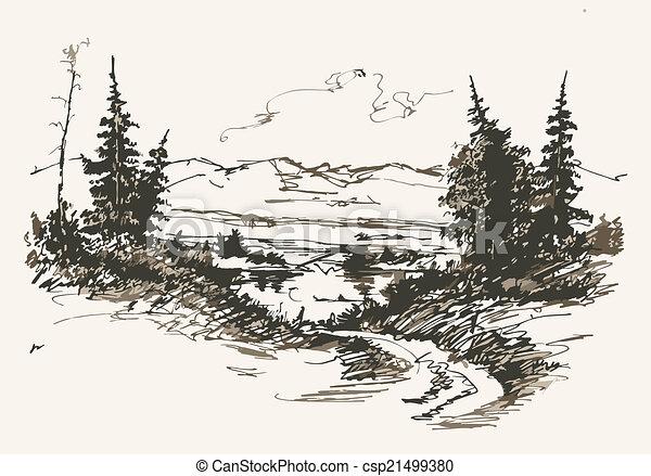 bjerge, vej - csp21499380