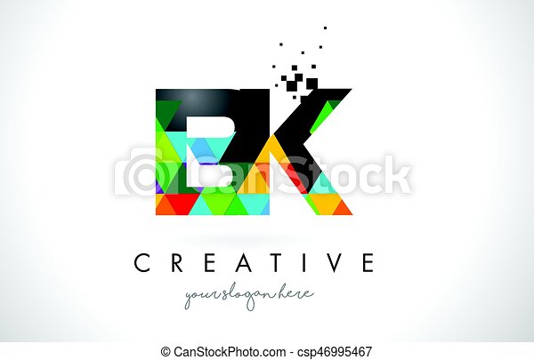 Bk B K Letter Logo With Colorful Triangles Texture Design Vector