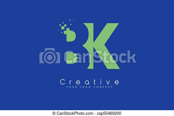 Bk Letter Logo Design With Negative Space Concept