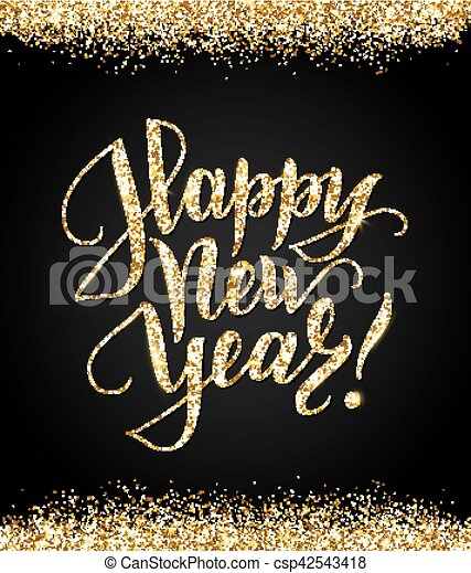 bkack and gold happy new year card with shiny glitter lettering csp42543418