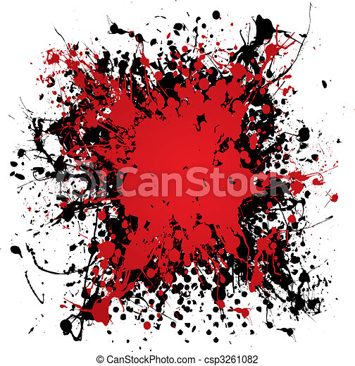 bläck, grunge, splat, blod - csp3261082