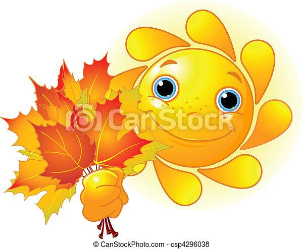 Sonne mit Herbstblättern - csp4296038