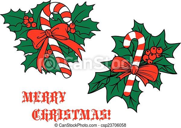Zuckerstange mit Schleife an Weihnachtsblättern - csp23706058
