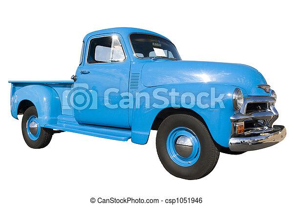 blå, årgång bil, visa - csp1051946